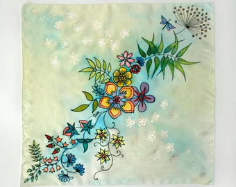 Silk Scarf. Hand Painted. Silk Scarf with Spring Flowers. Chinese Silk Habotai. Gift For Her.  19.5''x19.5'' (50x50 cm)