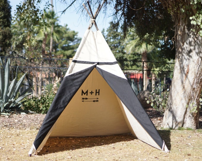 Featured listing image: XL Two-tone teepee, 8ft kids Teepee, large tipi, Play tent, wigwam or playhouse with canvas and Overlapping front doors