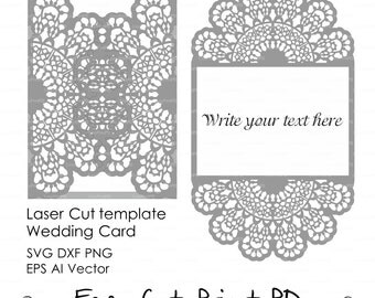 """Lace crochet doily Wedding invitation 5x7"""" Rustic Pattern Card Template (svg, dxf, dwg, ai, eps, png, pdf) laser cutting Silhouette Cameo"""