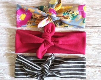 Tie Knot Headband/ Floral Headband/ Fuchsia Headband/ Grey Headband/ Stripe Headband/ Adult Headband/ Jersey Headband/ Turban Headband