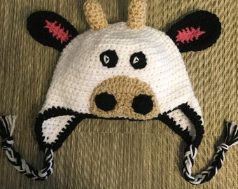 Handmade Crochet Cow Hat with Tassles