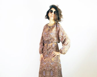 PAISLEY PEASANT DRESS, 70s dresses, ethnic tribal dress, hippie gypsy dress, brown dress, midi dress, long sleeves dress, size m l