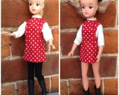 Lovely sixties inspired mini dress with three quarter length sleeves for Sindy, Tammy, Tressy, Barbie doll