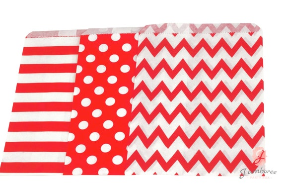 5x7 Red Treat bags in Chevron Dot and Stripe , Santa Sleigh Red Christmas Treat Bags, Candy Red Chevron Bags, Kids Boys Birthday, Paper Bags