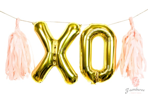 "16"" Giant XO Balloon, Letter Balloon, Gold Balloon Banner, Photo Booth Prop, Wedding Photo Prop, Valentines Day Decor, Bachelorette Decor"