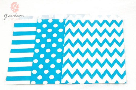 5x7 Teal Blue Treat bags in Chevron Dot and Stripe , Teal Blue Vintage Baby Shower Treat Bags, Candy Chevron Bags, Kids Birthday, Paper Bags