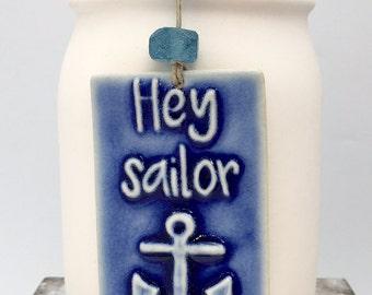 Rectangle Deep Blue Hey Sailor Ceramic Ornament by CH Maui