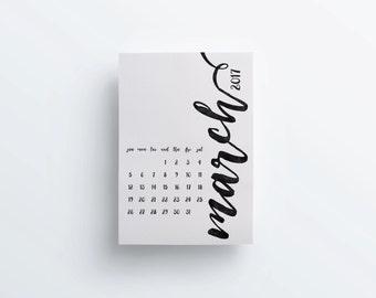 2017 Printable Wall calendar, Wall planner, A3 Calendar, Black watercolor, Minimal calendar, Instant download, Printable wall planner