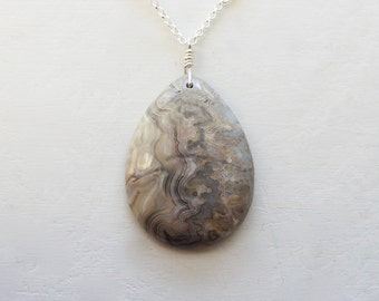 Crazy Lace Agate Necklace, Agate Pendant, Agate Jewelry, Sterling Silver Chain, Natural Stone, Teardrop Pendant, Neutral Colors
