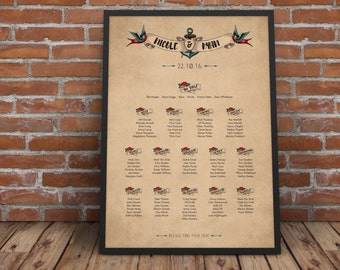 Tattoo Personalised Wedding Seating Plan (printable download available)