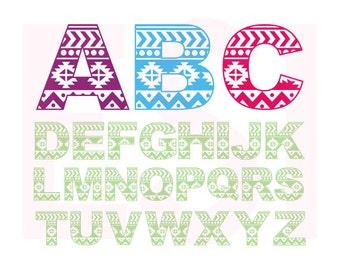 Aztec, Tribal, Alphabet Monogram font, SVG, DXF, EPS, vinyl cut files for use with Silhouette Studio and Cricut Design Space.