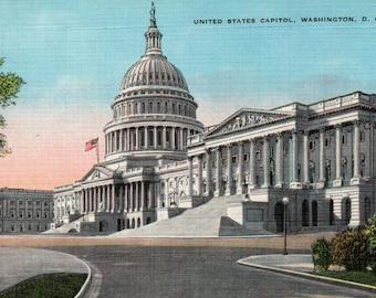 US Capitol Building Vintage Linen Postcard Washington DC United States Capitol Garrison Novelty Souvenir