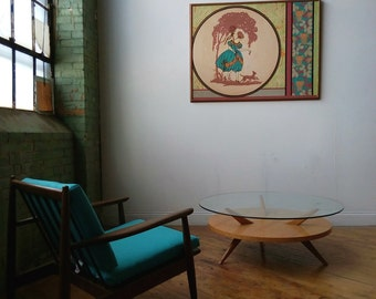 MCM Tri-Leg Glass Top Coffee Table