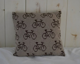 Knit Pillow Cover with Bicycles