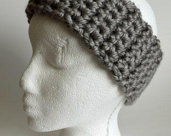 Silver Gray Crochet Headband, Knit Head Warmer, Chunky Headband, Head Wrap, Winter Headband, Ear Warmer, Earwarmer, Gift Ideas, Christmas