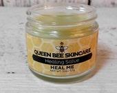 Healing Salve - HEAL ME - Calendula & Plantain Flowers Infused Oil - Medicinal Balm - Cuts Scrapes - Herbal Mending Skincare Antidote