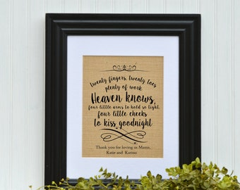 Gift for Twins, Framed Burlap Print, Twin Verse, Nursery Decor, Twin Plaque,Baby Shower Gift, Twin Baby shower Gift, Twin Gift, New Parents