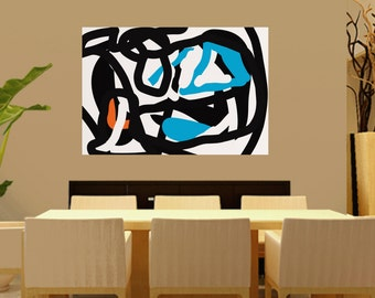Extra Large Abstract Painting On Canvas, minimalist Canvas Art, Black And White, blue ,orange, Original wall Art , Modern abstract painting