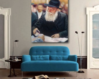 Custom Lubavitcher Rebbe Oil Painting Giclee Print