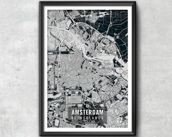 AMSTERDAM Netherlands Map with Coordinates, Amsterdam Wall Art, Amsterdam Map, Map Art, Map Print, Amsterdam Print, Amsterdam Art, Wall Art