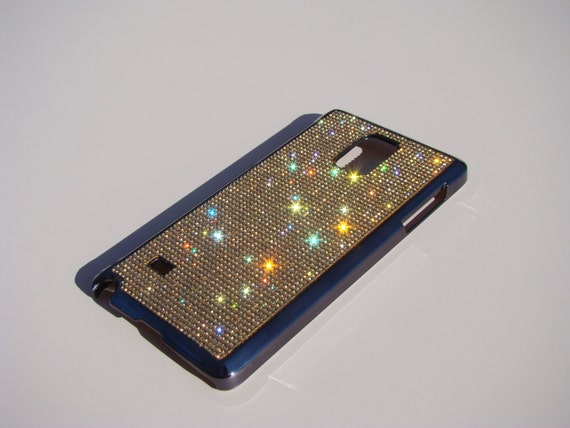 Galaxy Note 4 Gold Topaz Crystals on Black Chrome Electro Plated Case. Velvet/Silk Pouch Bag Included, Genuine Rangsee Crystal Cases.