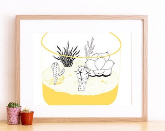 Art print A4 - Terrarium and animal print illustration cactus wall art minimal yellow collection - Serie West -  Limited Edition of 50