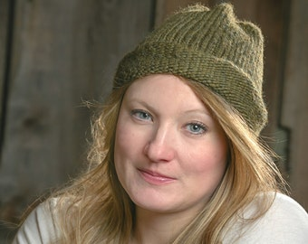 Knitted woollen hat woman cap acrylic wool hand-knitted knit winter