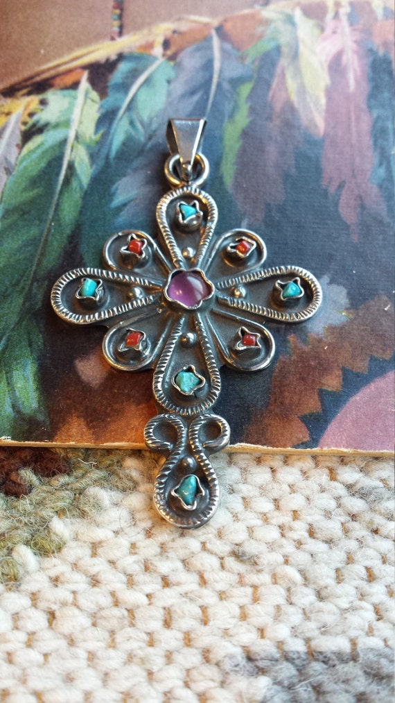 Sterling silver vintage turquoise, coral and amythyst cross