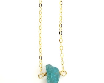 Raw Apatite Necklace, Raw Stone Necklace, Natural Crystal, Blue Gemstone, Rough, Nugget, Healing, Minimalist, Edgy, Gold Necklace