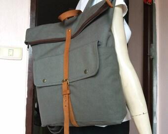 Gray backpack/Canvas backpack/Travel Bag/School Bag/Rucksack/Bags & Purse/Book bag/Bag/back to school/school backpacks