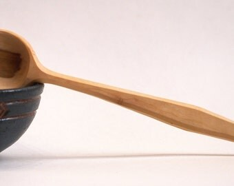 Wood mixing spoon, cooking spoon, hand carved, apple wood, tooled finish, kitchen utensil, natural wood