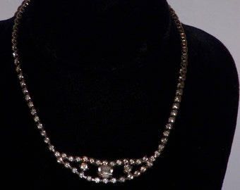 Vintage Clear Rhinestone Necklace