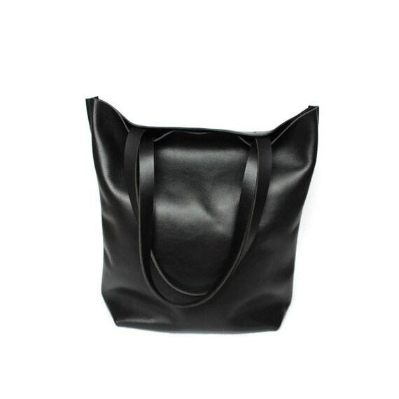 schwarzer leder shopper tote bag leder tote handtasche. Black Bedroom Furniture Sets. Home Design Ideas