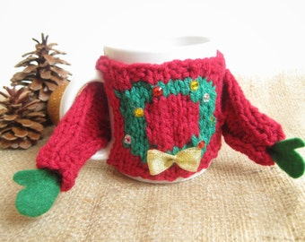Tacky Christmas Sweater Coffee Mug Cozy – Ugly Christmas Sweater Cozy - Sweater Mug Cozy – Coworker Christmas Gift – Unique Gift