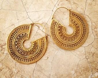 50% OFF Brass Hoop Earrings, Boho Earrings, Tribal Earrings, Gypsy Earrings Gold, Boho Gipsy Earrings, Bohemian, Tribal BellyDance, lalaboho