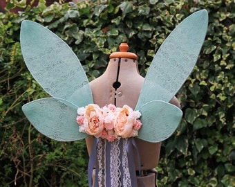 Mint Green Woodland Ribbon/Lace Waterfall Romantic Flower Fairy Wings Costume/Fairy - Faerie Cosplay/Wearable Wings