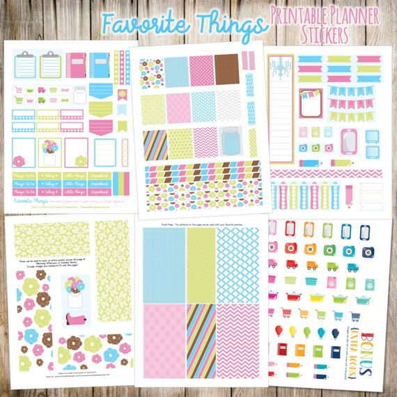 Favorite Things Printable Planner Stickers - 6 Full Pages!  (Made to fit Erin Condren, Plum Paper, Filofax, and other planners)