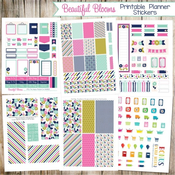 Beautiful Blooms ~ Printable Planner Stickers - 6 Full Pages!  (Made to fit The Happy Planner by MAMBI - Create 365)