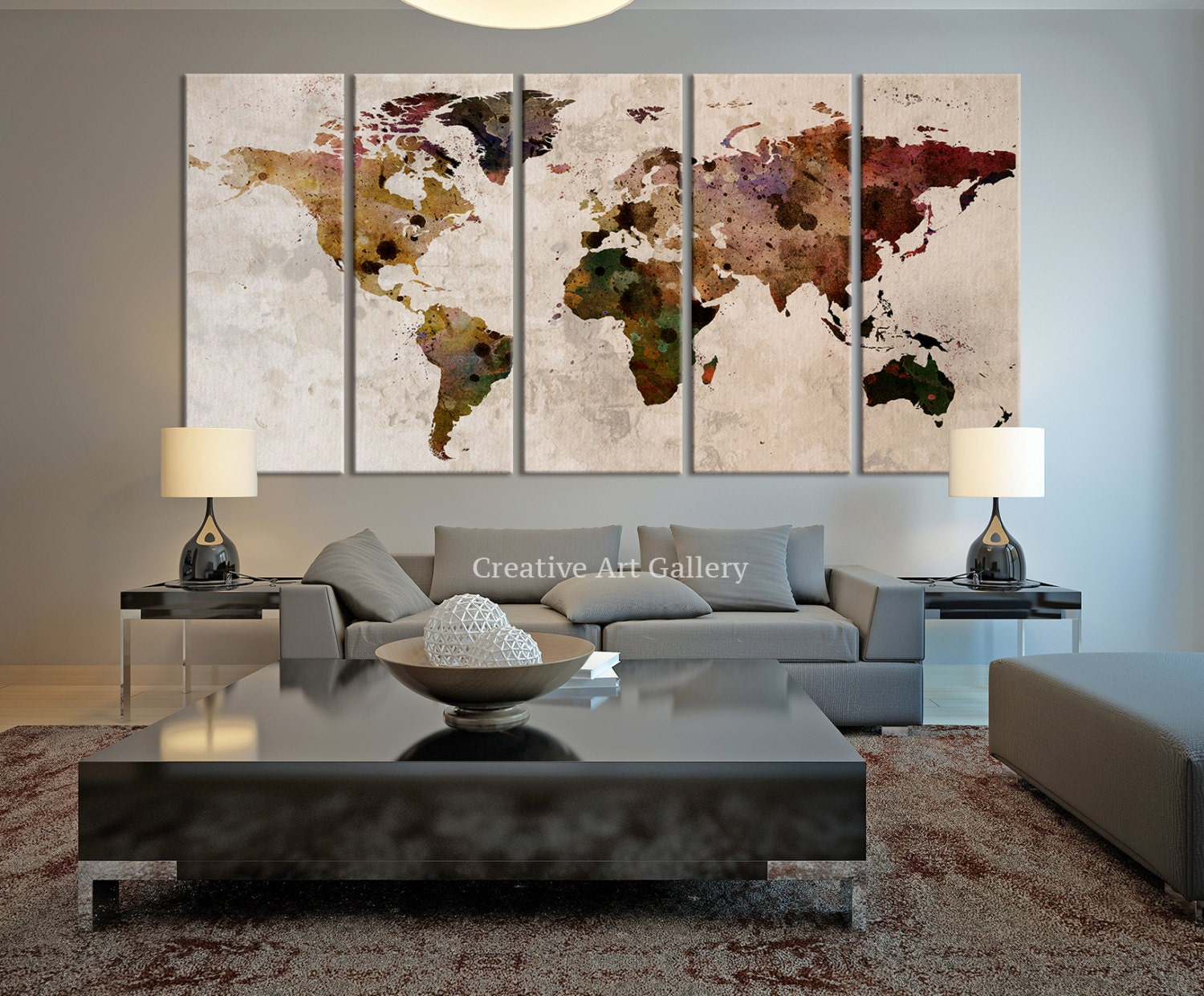 World map large canvas print rustic world by extralargewallart - Large wall decor ideas for living room ...