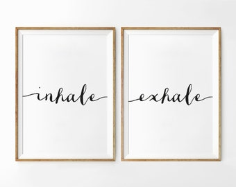 Inhale Exhale Print, Set Of 2 Prints, Relaxation Quote, Breathe Print, Yoga Wall Art, Home Decor, Wall Decor, Yoga Print, Scandinavian Print