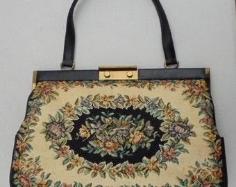 Beautiful Large Floral Tapestry Handbag Made in Denmark
