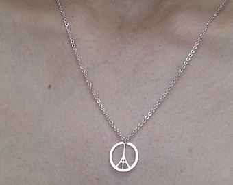 Peace for Paris necklace: Eiffel Tower Peace sign symbol in silver,  Pray for Paris #ViveLaFrance #DoctorswithoutBorders