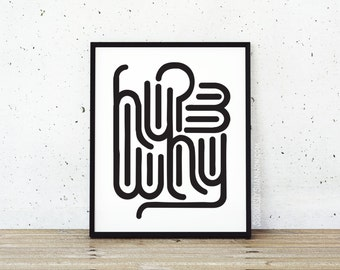 "Abstract Print, Typography Wall Art, ""Why?"""
