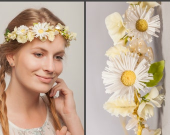 Daisy Flower Crown, Floral Hair Wreath, Rustic Wedding Tiara, Floral Halo, Bridal Tiara, Wedding Halo, Daisy Headband, Bridal Flower Crown