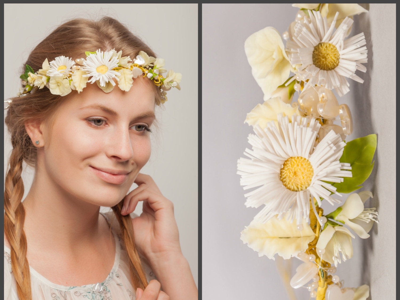 Bridal Flower Wreath For Hair : Daisy flower crown floral hair wreath rustic wedding tiara