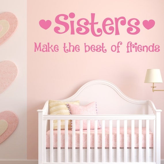 sisters make the best of friends wall sticker quote art make up wall decals model eyes fashion girl by
