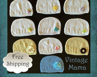 Baby Girl Beanie Hat Cotton - Custom Designs - Pink, Cream, White, Pearl, Flowers