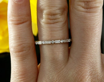 Halfway Diamond Wedding Band, Baguette Diamond Wedding Ring in 14k White Gold (available in rose gold, yellow gold and platinum)
