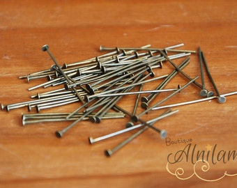 100 rods to head 30mm, 100 bronze headpins, 100 headpins 30mm, jewellery, flat nail plate.