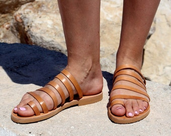Flip Flop style -Strappy leather Sandals - Natural Leather - Barefoot Greek Leather Sandals Handmade